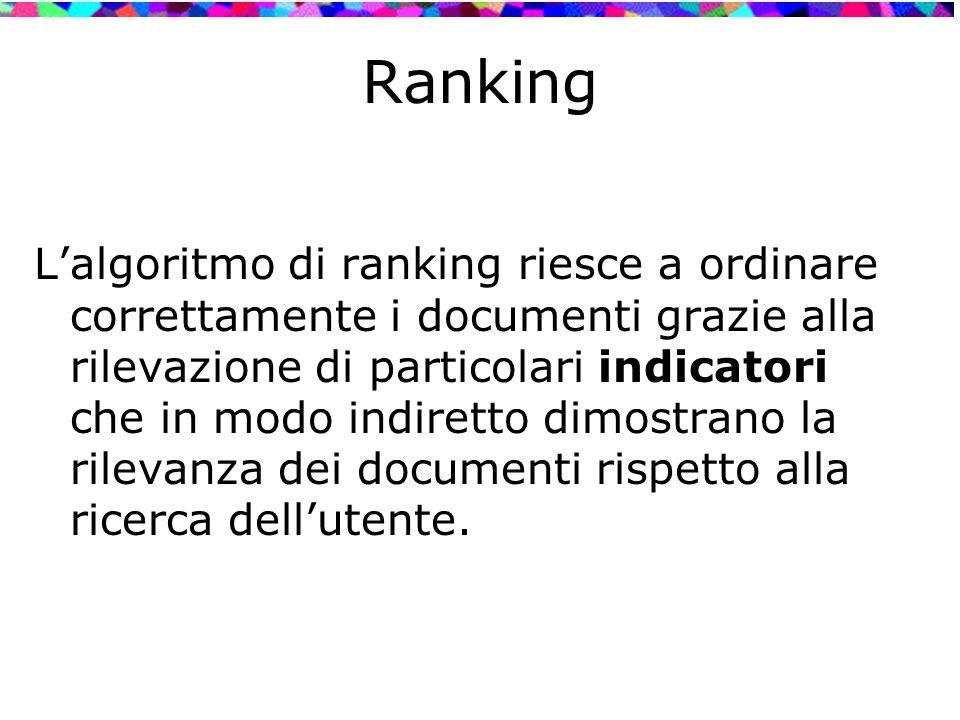 Ranking L'algoritmo di ranking riesce a ordinare correttamente i documenti grazie alla rilevazione di particolari indicatori che in modo indiretto dim