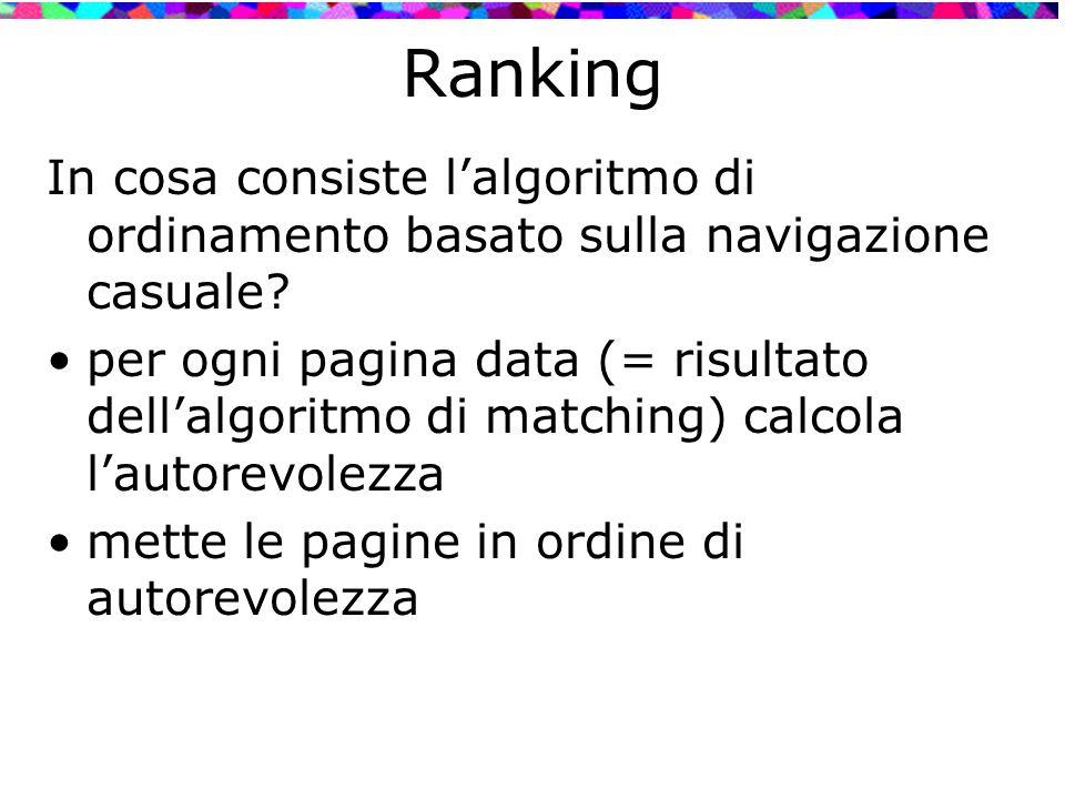 Ranking In cosa consiste l'algoritmo di ordinamento basato sulla navigazione casuale? per ogni pagina data (= risultato dell'algoritmo di matching) ca