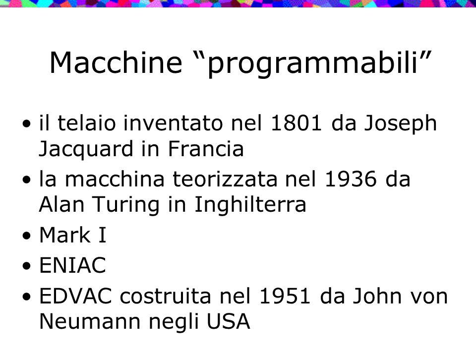 """Macchine """"programmabili"""" il telaio inventato nel 1801 da Joseph Jacquard in Francia la macchina teorizzata nel 1936 da Alan Turing in Inghilterra Mark"""