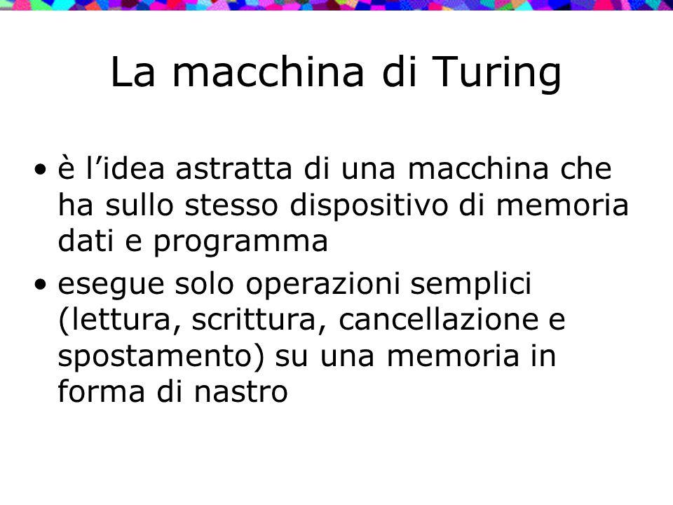 La macchina di Turing è l'idea astratta di una macchina che ha sullo stesso dispositivo di memoria dati e programma esegue solo operazioni semplici (l