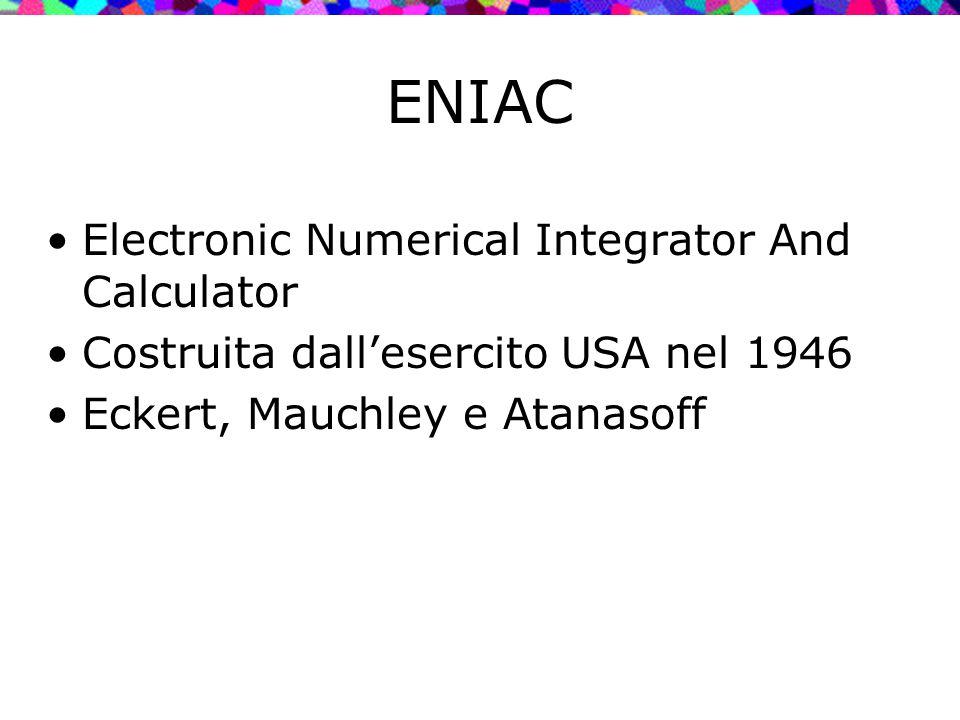 ENIAC Electronic Numerical Integrator And Calculator Costruita dall'esercito USA nel 1946 Eckert, Mauchley e Atanasoff