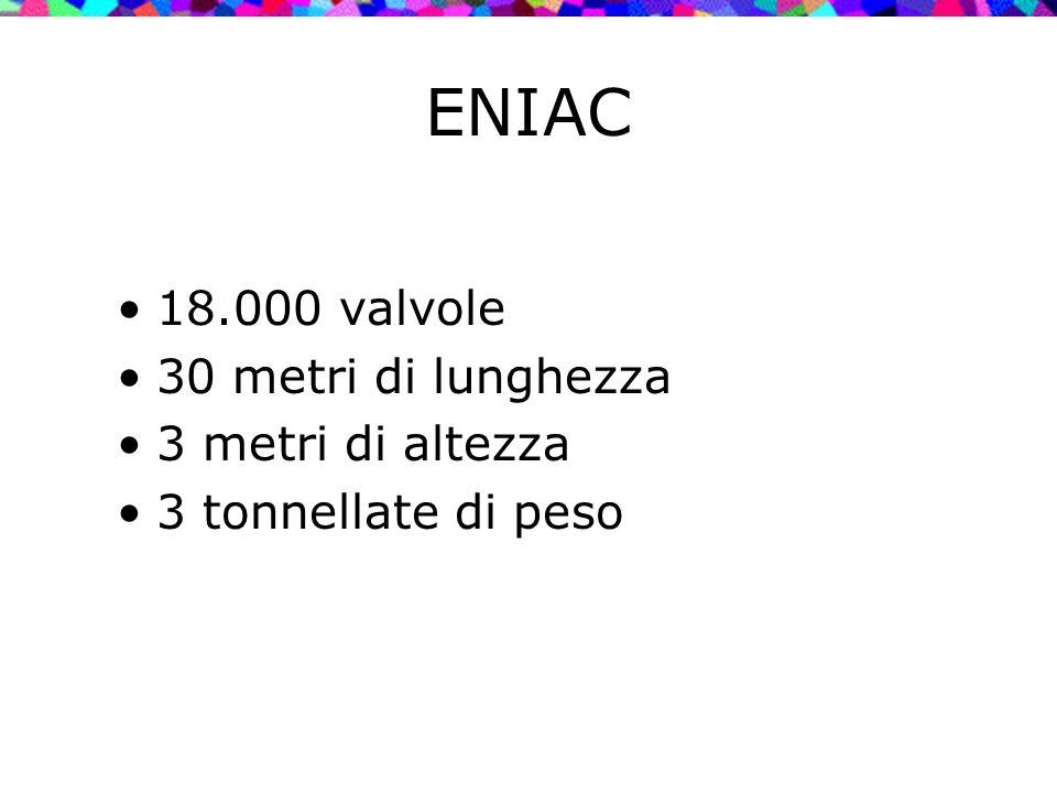 18.000 valvole 30 metri di lunghezza 3 metri di altezza 3 tonnellate di peso ENIAC