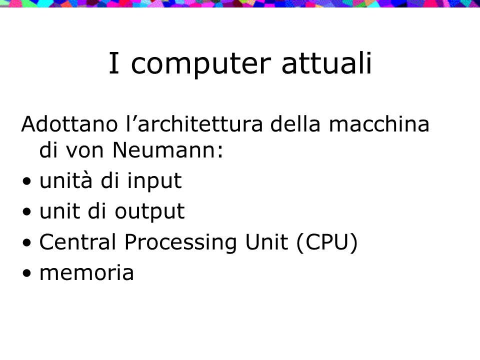 I computer attuali Adottano l'architettura della macchina di von Neumann: unità di input unit di output Central Processing Unit (CPU) memoria