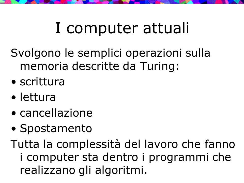 I computer attuali Svolgono le semplici operazioni sulla memoria descritte da Turing: scrittura lettura cancellazione Spostamento Tutta la complessità