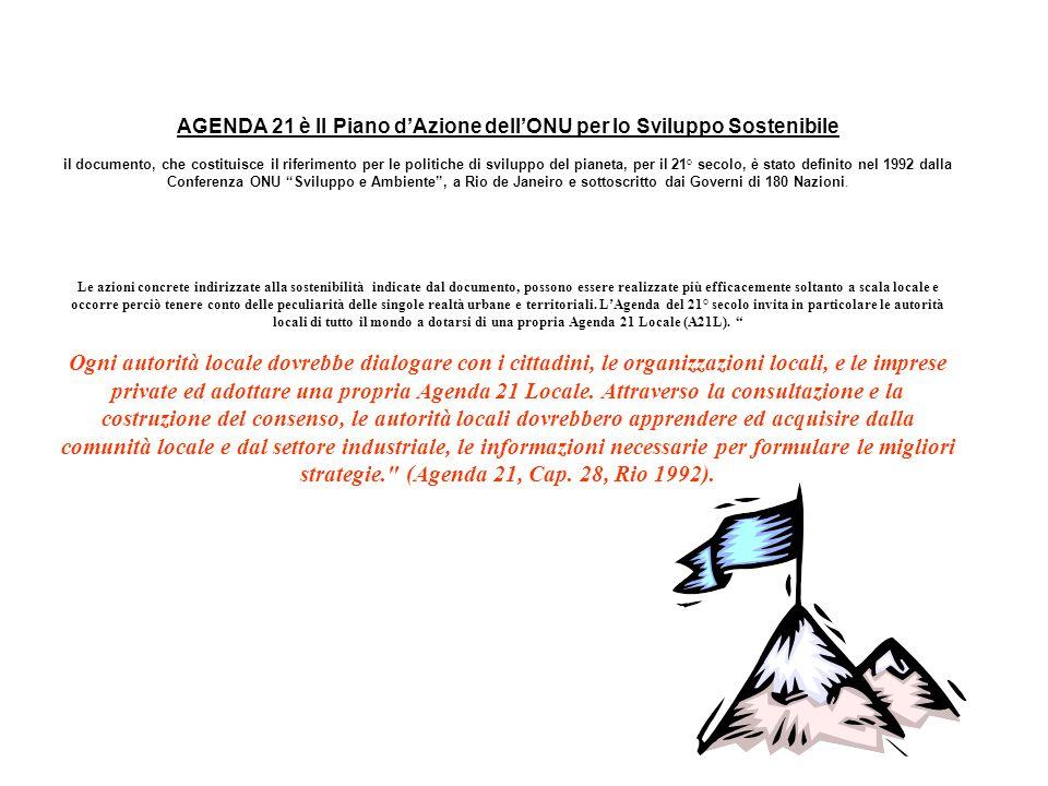 AGENDA 21 è Il Piano d'Azione dell'ONU per lo Sviluppo Sostenibile il documento, che costituisce il riferimento per le politiche di sviluppo del pianeta, per il 21° secolo, è stato definito nel 1992 dalla Conferenza ONU Sviluppo e Ambiente , a Rio de Janeiro e sottoscritto dai Governi di 180 Nazioni.