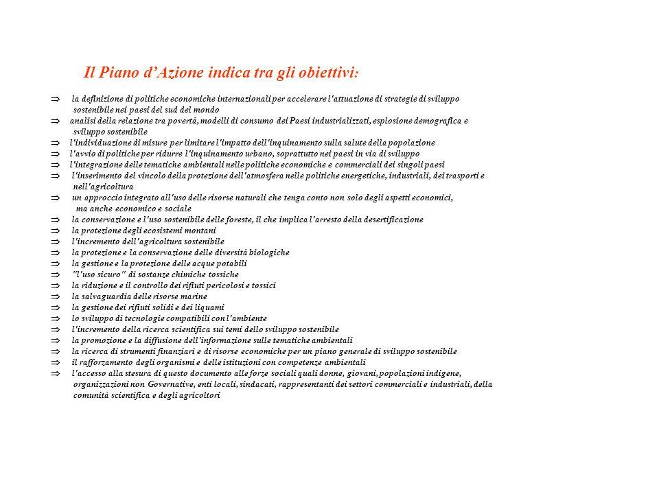 AGENDA 21 è Il Piano d'Azione dell'ONU per lo Sviluppo Sostenibile il documento, che costituisce il riferimento per le politiche di sviluppo del piane
