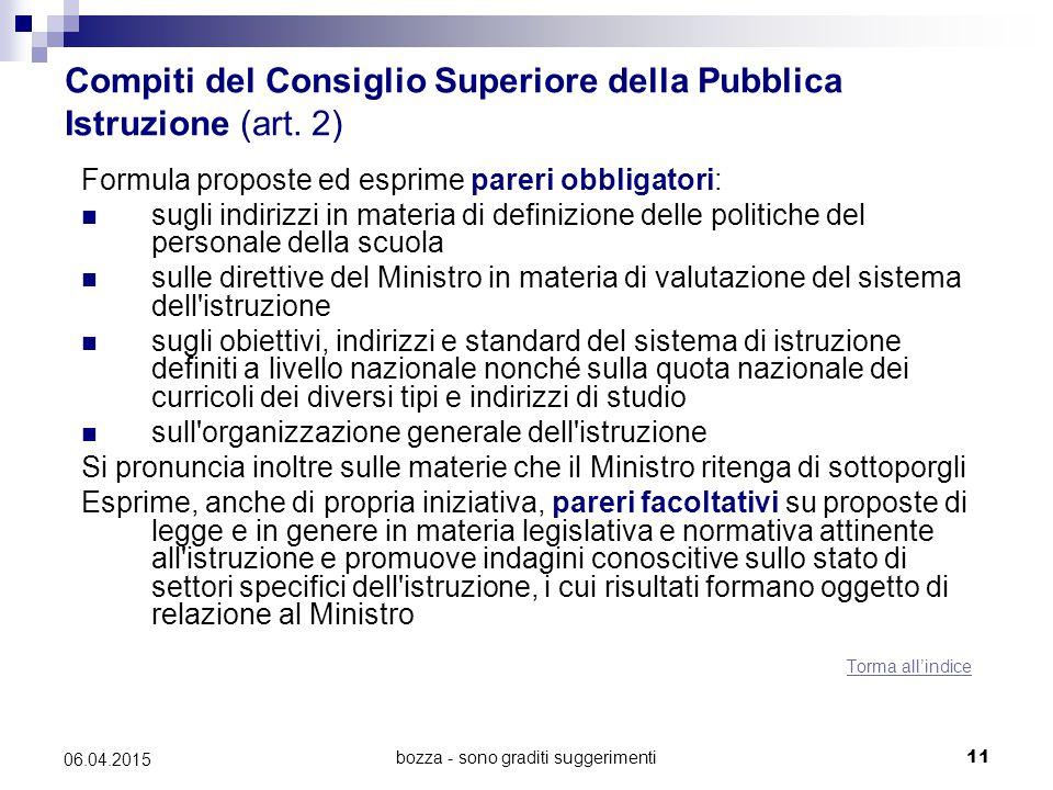 bozza - sono graditi suggerimenti11 06.04.2015 Compiti del Consiglio Superiore della Pubblica Istruzione (art. 2) Formula proposte ed esprime pareri o