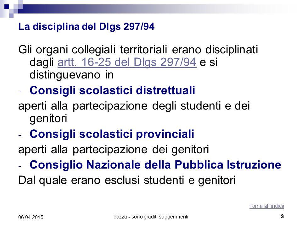 bozza - sono graditi suggerimenti3 06.04.2015 La disciplina del Dlgs 297/94 Gli organi collegiali territoriali erano disciplinati dagli artt. 16-25 de