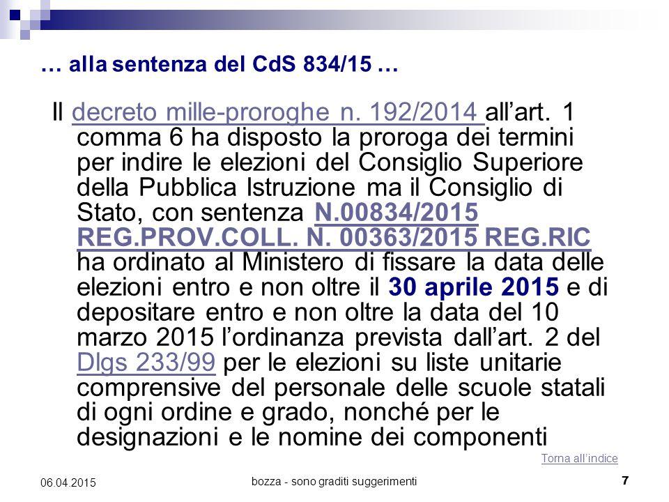 bozza - sono graditi suggerimenti7 06.04.2015 … alla sentenza del CdS 834/15 … Il decreto mille-proroghe n.