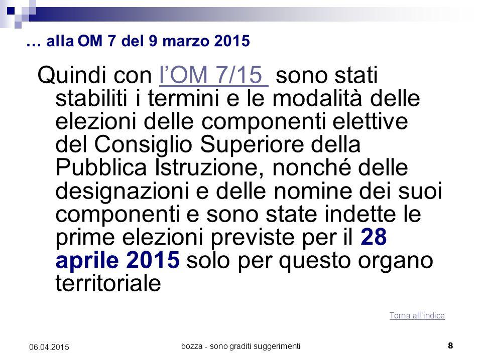 bozza - sono graditi suggerimenti8 06.04.2015 … alla OM 7 del 9 marzo 2015 Quindi con l'OM 7/15 sono stati stabiliti i termini e le modalità delle ele