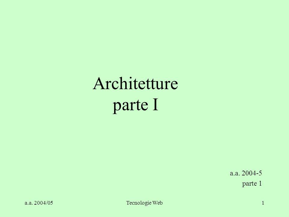 a.a.2004/05Tecnologie Web51 Architetture n-Tier - I Permettono configurazioni diverse.