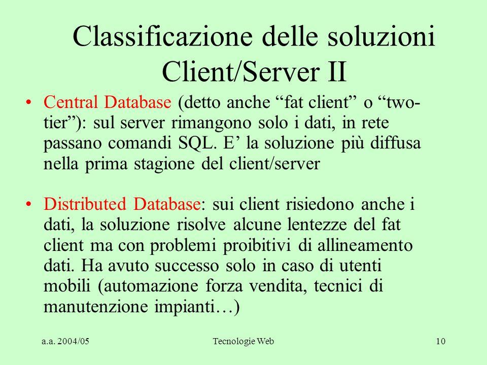 a.a. 2004/05Tecnologie Web9 Classificazione delle soluzioni Client/Server I Timesharing: la soluzione monolitica precedente al client/server, tutto ri