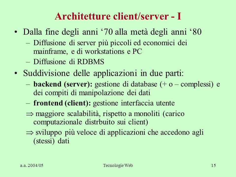 a.a. 2004/05Tecnologie Web14 Monoliti (IT stovepipe) - II Enterprise User interface Logic Data Management