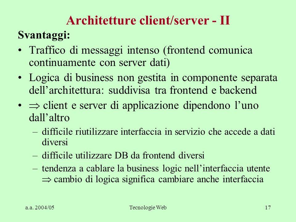 a.a. 2004/05Tecnologie Web16 Architetture client/server - III Enterprise User interface Logic Data Management Client Server