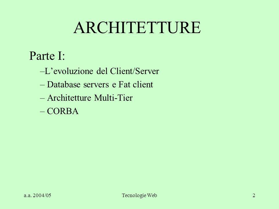 a.a. 2004/05Tecnologie Web1 Architetture parte I a.a. 2004-5 parte 1