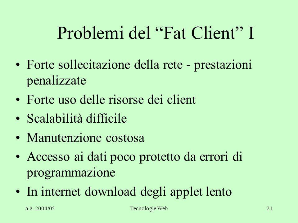 a.a. 2004/05Tecnologie Web20 Central Database (Fat Client) Esempio di prodotti RDBMS Protocollo di rete Driver DB Driver ODBC Applicazione Protocollo