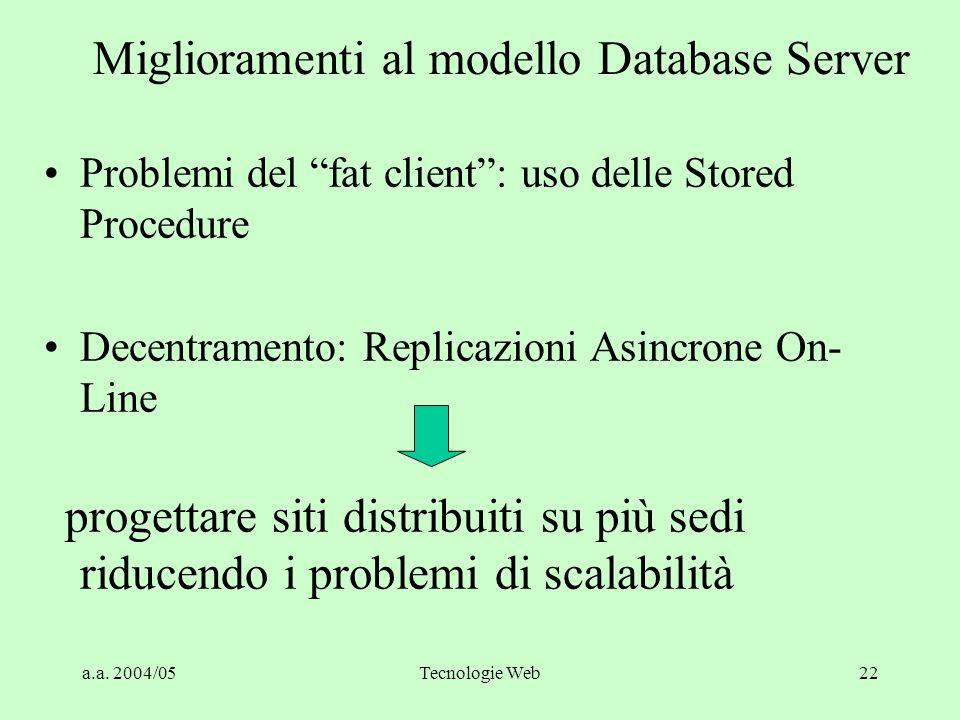 """a.a. 2004/05Tecnologie Web21 Problemi del """"Fat Client"""" I Forte sollecitazione della rete - prestazioni penalizzate Forte uso delle risorse dei client"""