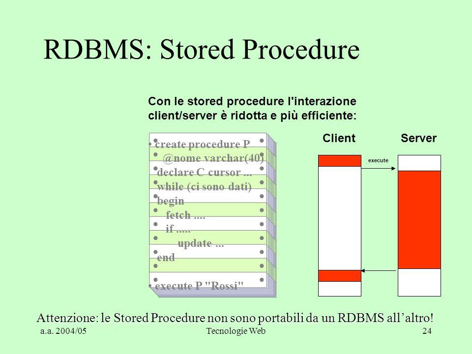 a.a. 2004/05Tecnologie Web23 RDBMS: Stored Procedures Utilizzando comandi SQL l'interazione client/server è elevata: declare C cursor for select * fro