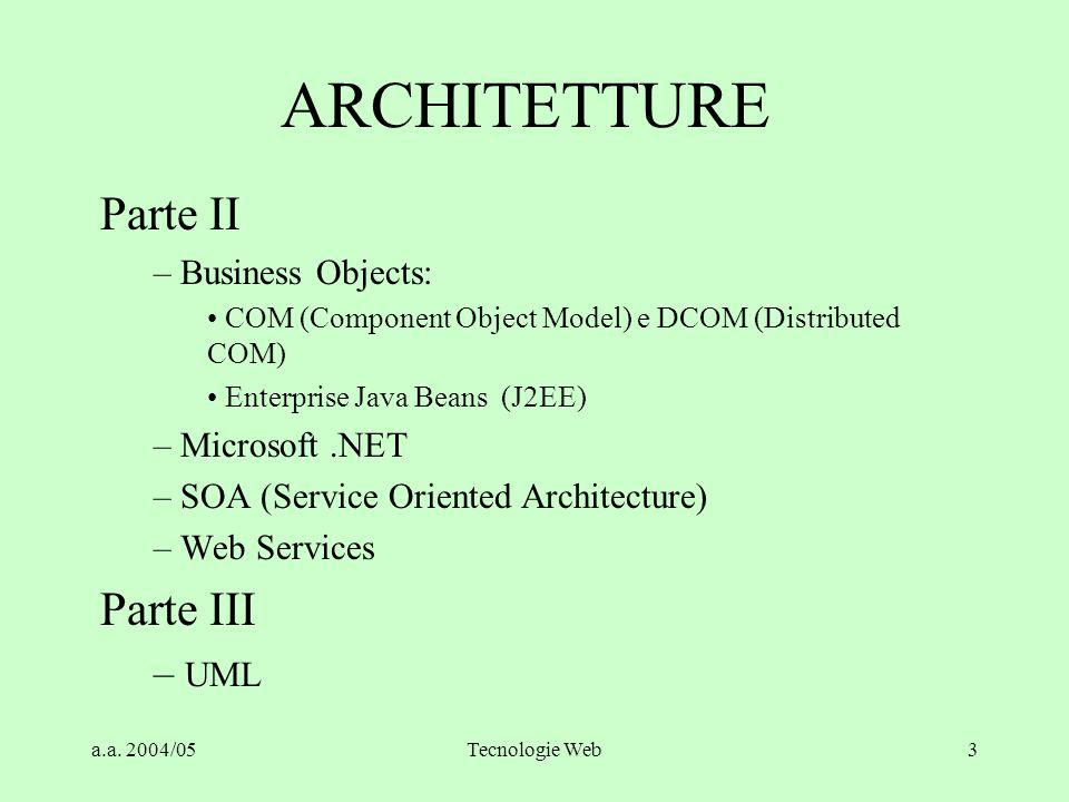 a.a. 2004/05Tecnologie Web2 ARCHITETTURE Parte I: –L'evoluzione del Client/Server – Database servers e Fat client – Architetture Multi-Tier – CORBA