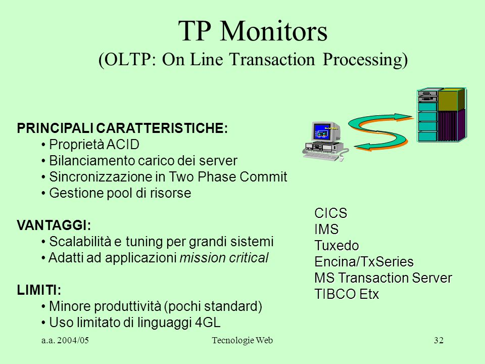 a.a. 2004/05Tecnologie Web31 Tipologie di Middleware  TP monitor (OLTP)  Message Oriented (MOM)  Publish/Subscribe  Object Request Broker (ORB) 