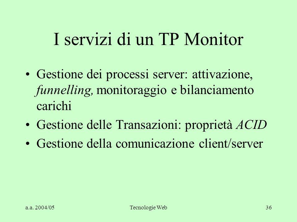 a.a. 2004/05Tecnologie Web35 Normalizzazione dei Servizi Gli obiettivi della normalizzazione sono quelli di migliorare la chiarezza del disegno e di r