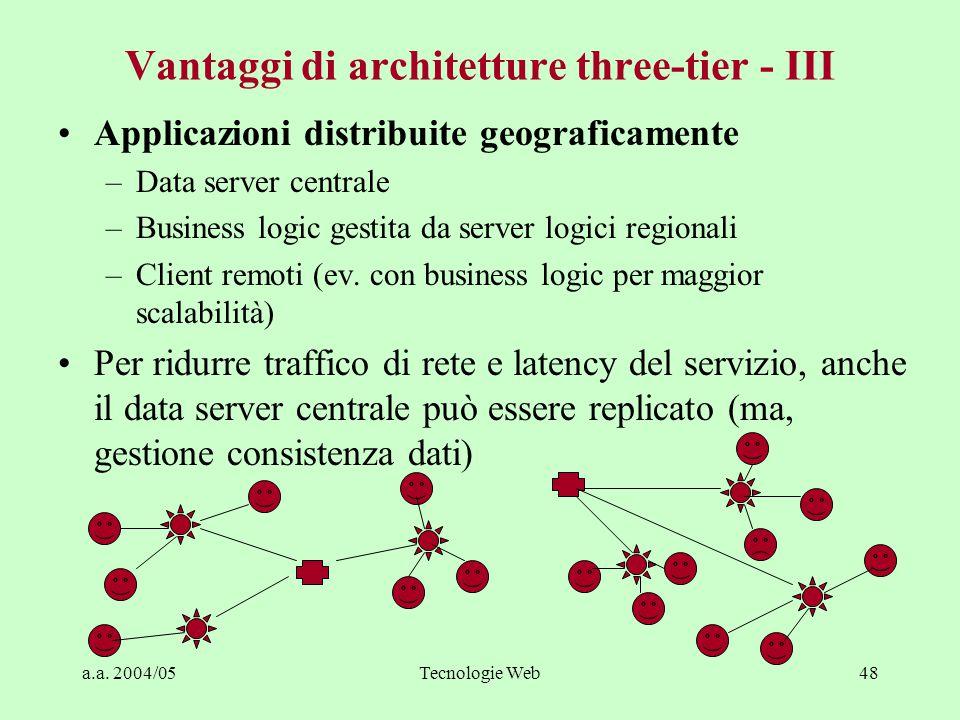 a.a. 2004/05Tecnologie Web47 Vantaggi di architetture three-tier - II Interconnettività –API delle componenti superano il problema degli adattatori de