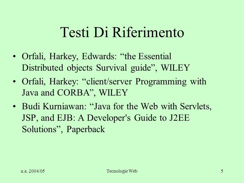 a.a. 2004/05Tecnologie Web4 Prerequisiti Concetti di object oriented design (breve accenno durante il corso) MS windows (utente) Internet WWW (utente)