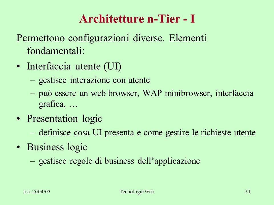 a.a. 2004/05Tecnologie Web50 Three-tier è concettuale, non fisico Si possono implementare architetture three-tier su due livelli di macchine, o anche