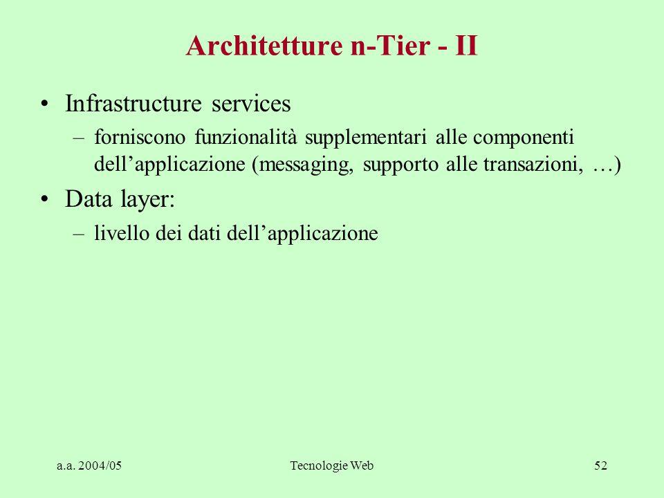 a.a. 2004/05Tecnologie Web51 Architetture n-Tier - I Permettono configurazioni diverse. Elementi fondamentali: Interfaccia utente (UI) –gestisce inter