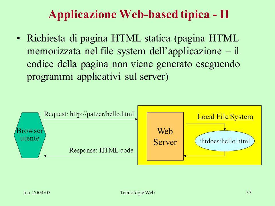 a.a. 2004/05Tecnologie Web54 Applicazione Web-based tipica - I Interfaccia utente: gestita sul browser utente Logica applicativa: gestita sul server,