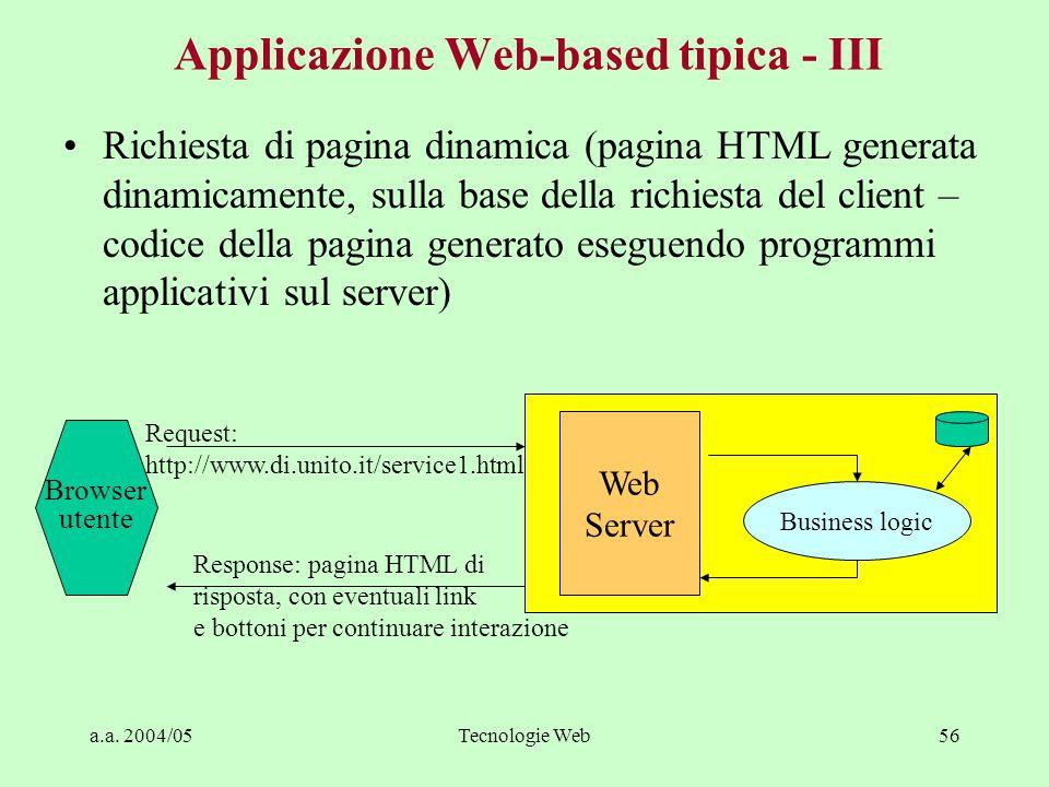 a.a. 2004/05Tecnologie Web55 Applicazione Web-based tipica - II Richiesta di pagina HTML statica (pagina HTML memorizzata nel file system dell'applica