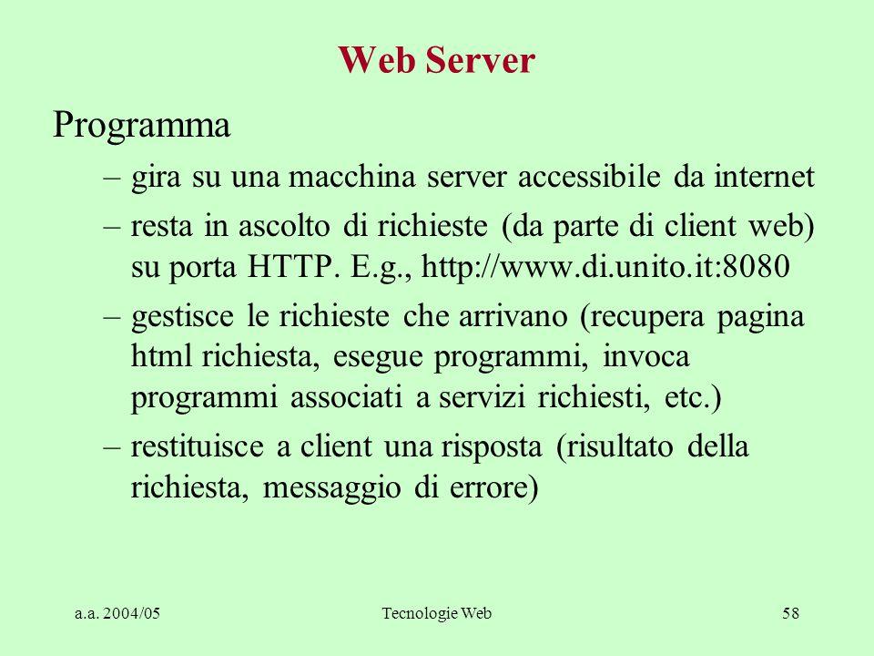 a.a. 2004/05Tecnologie Web57 Browser Web Può essere visto come interfaccia utente universale –Invoca Web Server per richiedere pagine statiche o dinam