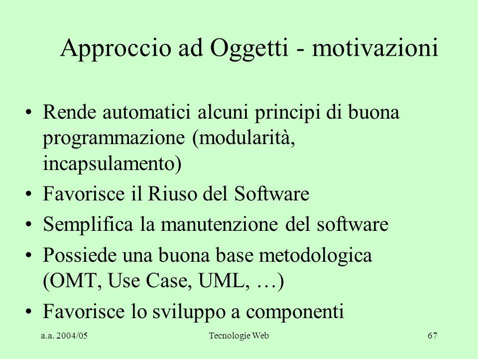 a.a. 2004/05Tecnologie Web66 Relazioni fra gli oggetti Generalizzazione / Specializzazione Associazione Aggregazione File Directory