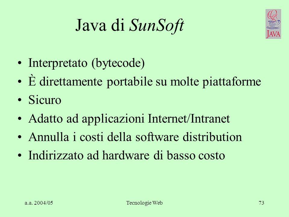 a.a. 2004/05Tecnologie Web72 Object management architecture