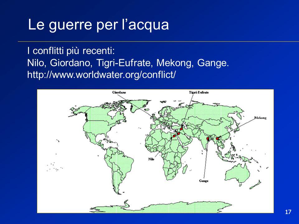 17 Le guerre per l'acqua I conflitti più recenti: Nilo, Giordano, Tigri-Eufrate, Mekong, Gange. http://www.worldwater.org/conflict/