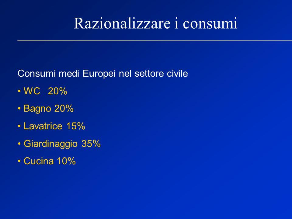 Razionalizzare i consumi Consumi medi Europei nel settore civile WC 20% Bagno 20% Lavatrice 15% Giardinaggio 35% Cucina 10%