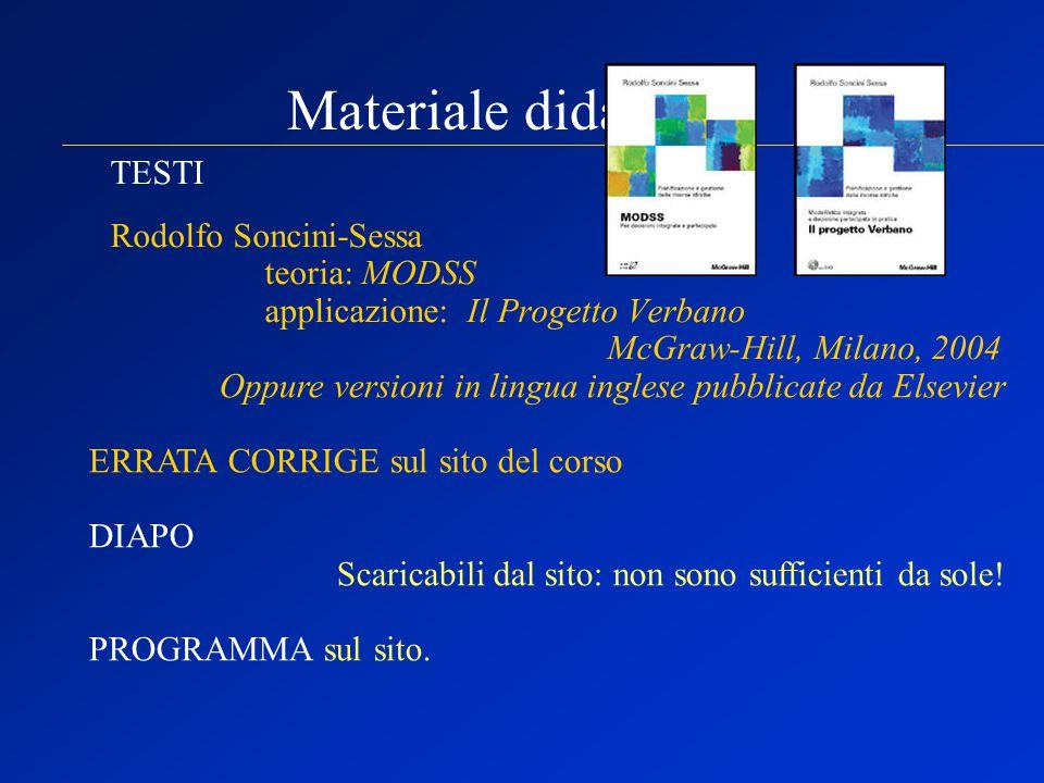 Materiale didattico: TESTI Rodolfo Soncini-Sessa teoria: MODSS applicazione: Il Progetto Verbano McGraw-Hill, Milano, 2004 Oppure versioni in lingua i