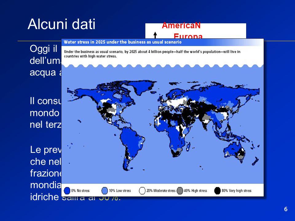 6 Alcuni dati Le previsioni dicono che nel 2025 la frazione di popolazione mondiale con carenze idriche salirà al 50%. Oggi il 30% dell'umanità non ha