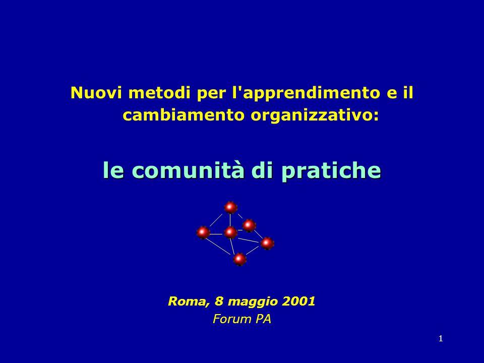 1 Nuovi metodi per l apprendimento e il cambiamento organizzativo: le comunità di pratiche Roma, 8 maggio 2001 Forum PA