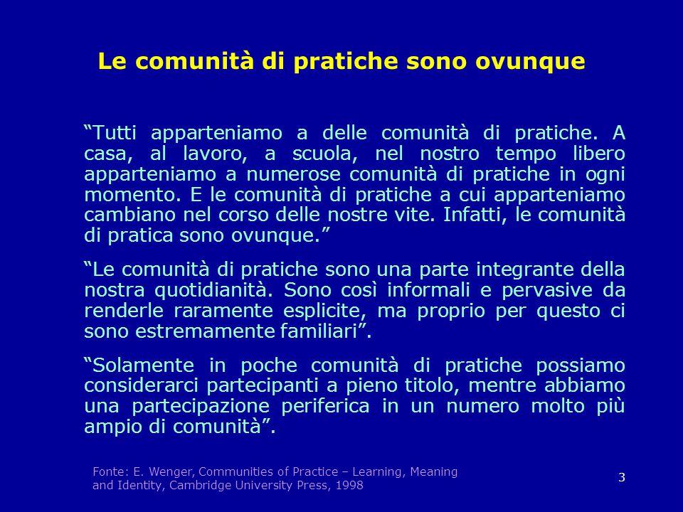 3 Le comunità di pratiche sono ovunque Tutti apparteniamo a delle comunità di pratiche.