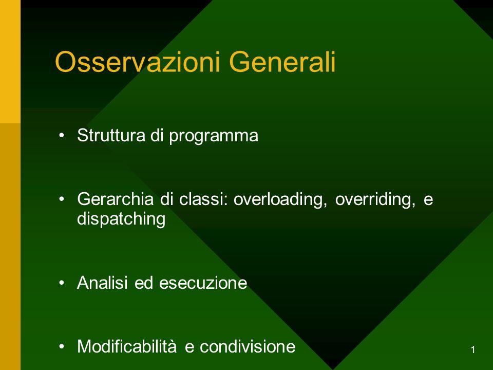 1 Osservazioni Generali Struttura di programma Gerarchia di classi: overloading, overriding, e dispatching Analisi ed esecuzione Modificabilità e condivisione
