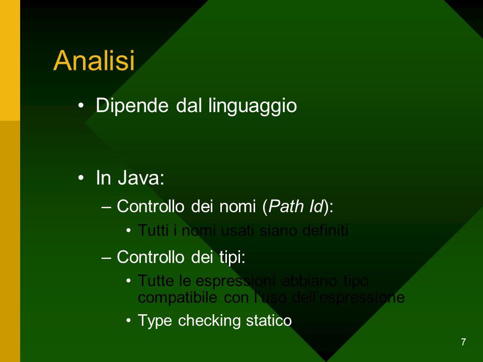 7 Analisi Dipende dal linguaggio In Java: –Controllo dei nomi (Path Id): Tutti i nomi usati siano definiti –Controllo dei tipi: Tutte le espressioni abbiano tipo compatibile con l'uso dell'espressione Type checking statico