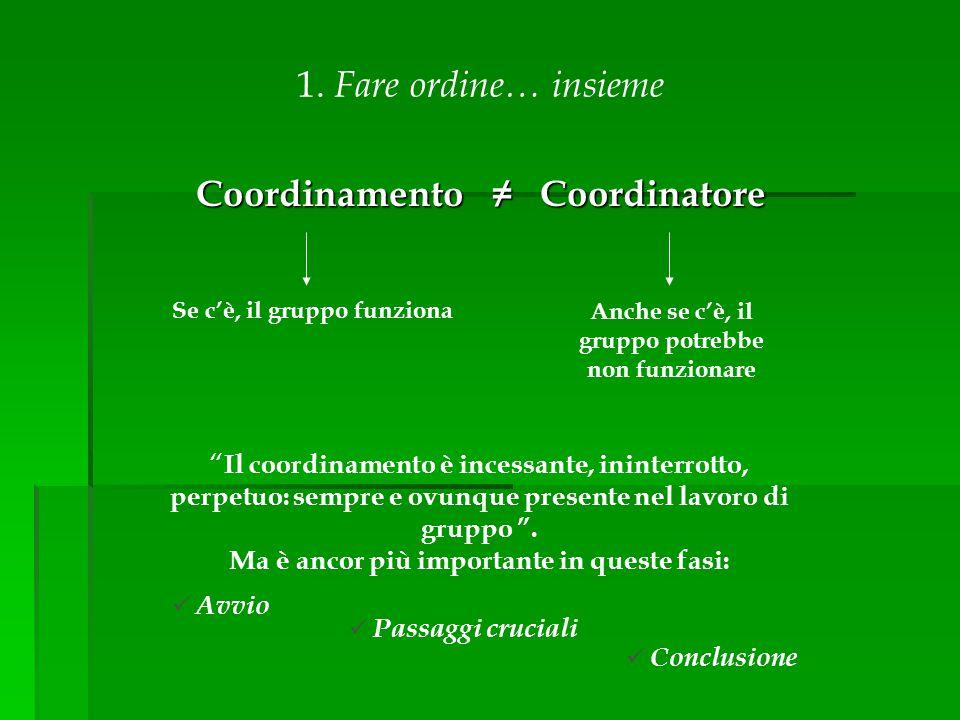 """Coordinamento ≠ Coordinatore Se c'è, il gruppo funziona Anche se c'è, il gruppo potrebbe non funzionare 1. Fare ordine… insieme """" Il coordinamento è i"""
