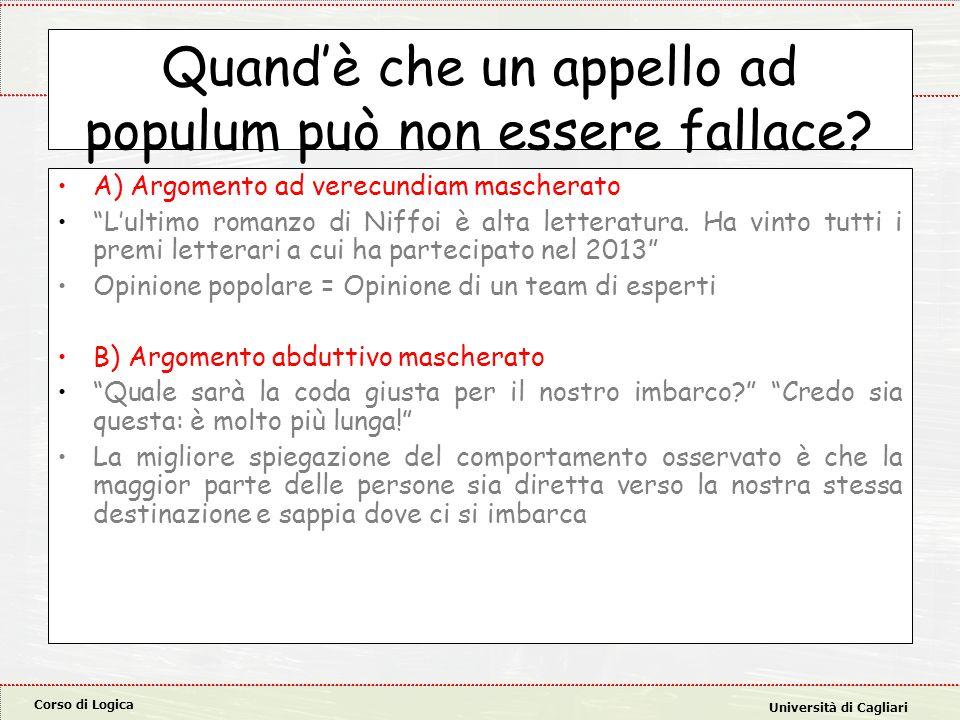 Corso di Logica Università di Cagliari Quand'è che un appello ad populum può non essere fallace.
