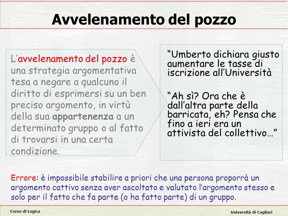 Corso di Logica Università di Cagliari Avvelenamento del pozzo L'avvelenamento del pozzo è una strategia argomentativa tesa a negare a qualcuno il diritto di esprimersi su un ben preciso argomento, in virtù della sua appartenenza a un determinato gruppo o al fatto di trovarsi in una certa condizione.