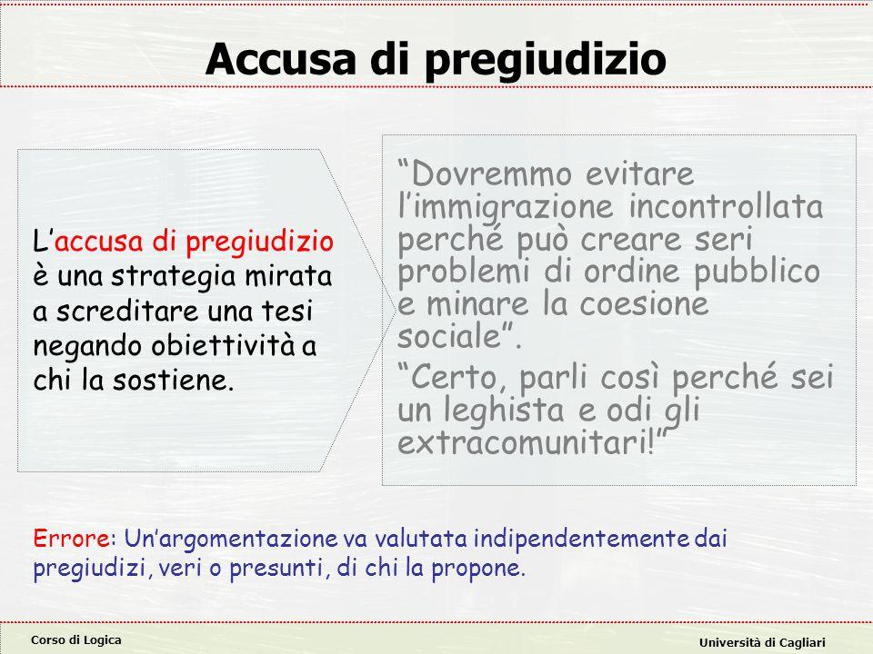 Corso di Logica Università di Cagliari Accusa di pregiudizio Dovremmo evitare l'immigrazione incontrollata perché può creare seri problemi di ordine pubblico e minare la coesione sociale .
