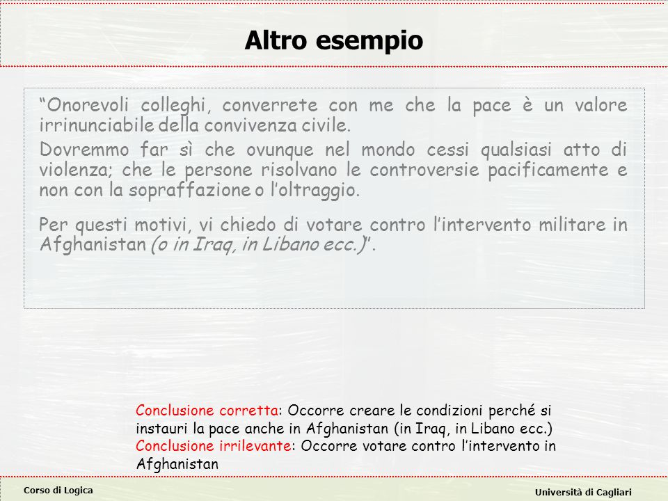 Corso di Logica Università di Cagliari Altro esempio Onorevoli colleghi, converrete con me che la pace è un valore irrinunciabile della convivenza civile.