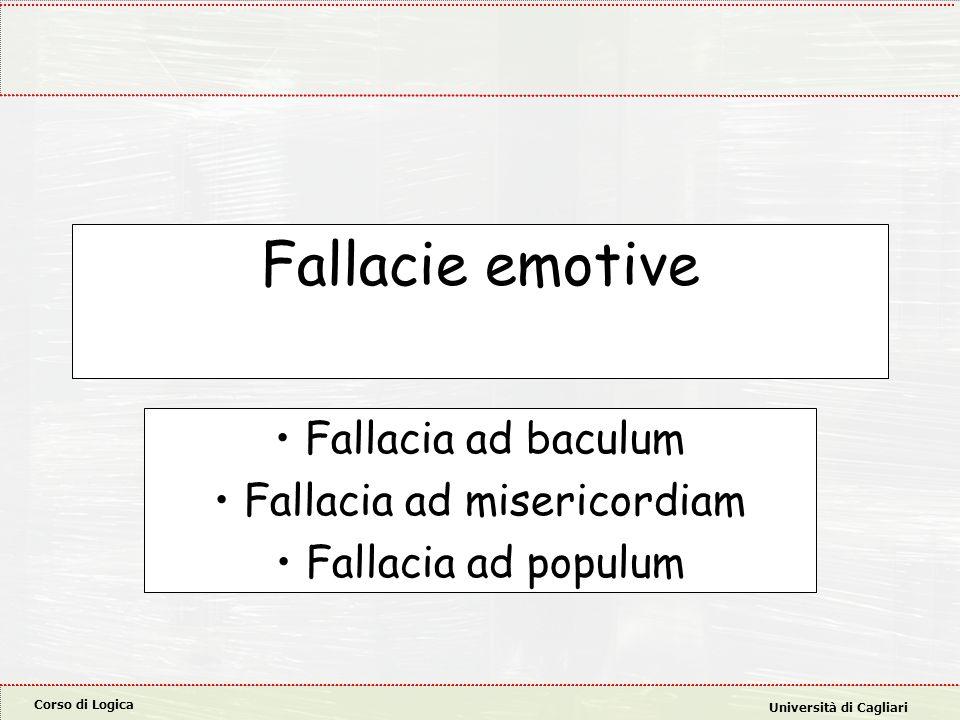 Corso di Logica Università di Cagliari Fallacie emotive Fallacia ad baculum Fallacia ad misericordiam Fallacia ad populum