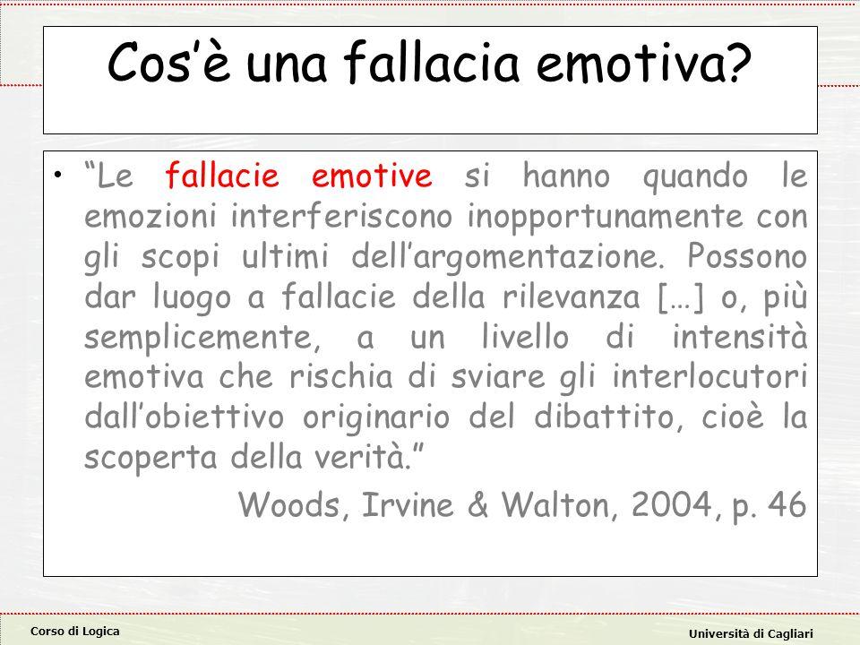 Corso di Logica Università di Cagliari Cos'è una fallacia emotiva.