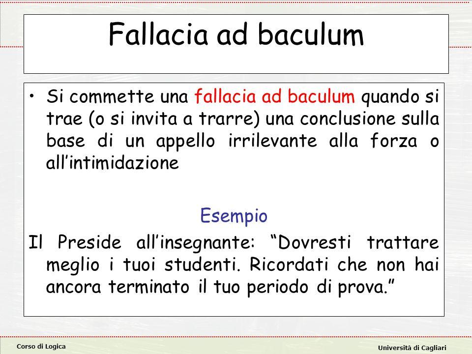 Corso di Logica Università di Cagliari Fallacia ad baculum Si commette una fallacia ad baculum quando si trae (o si invita a trarre) una conclusione sulla base di un appello irrilevante alla forza o all'intimidazione Esempio Il Preside all'insegnante: Dovresti trattare meglio i tuoi studenti.